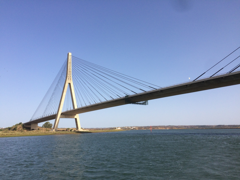 Guadiana bridge seen from the boat
