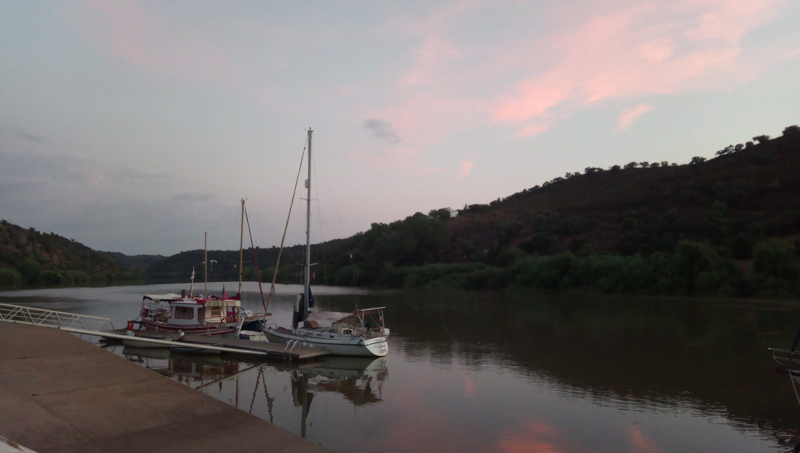 Boats on the river in Guadiana