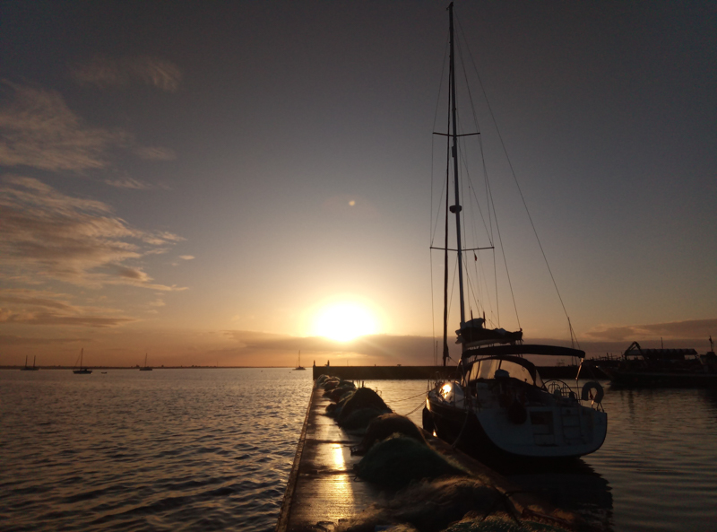 Sunset on a mooring space