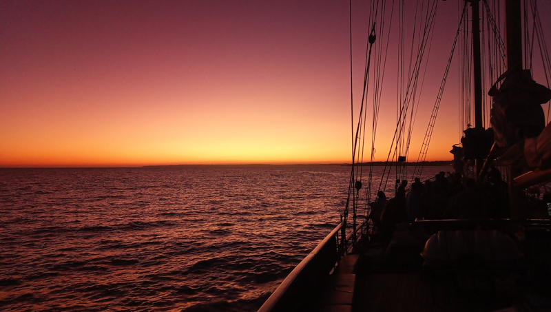 Last light on a sailing expedition