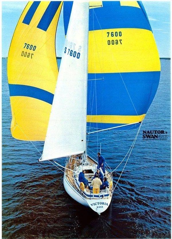 Full sail on Nautor Swan