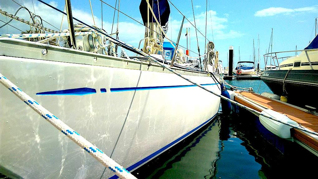 Swan 411 on dock