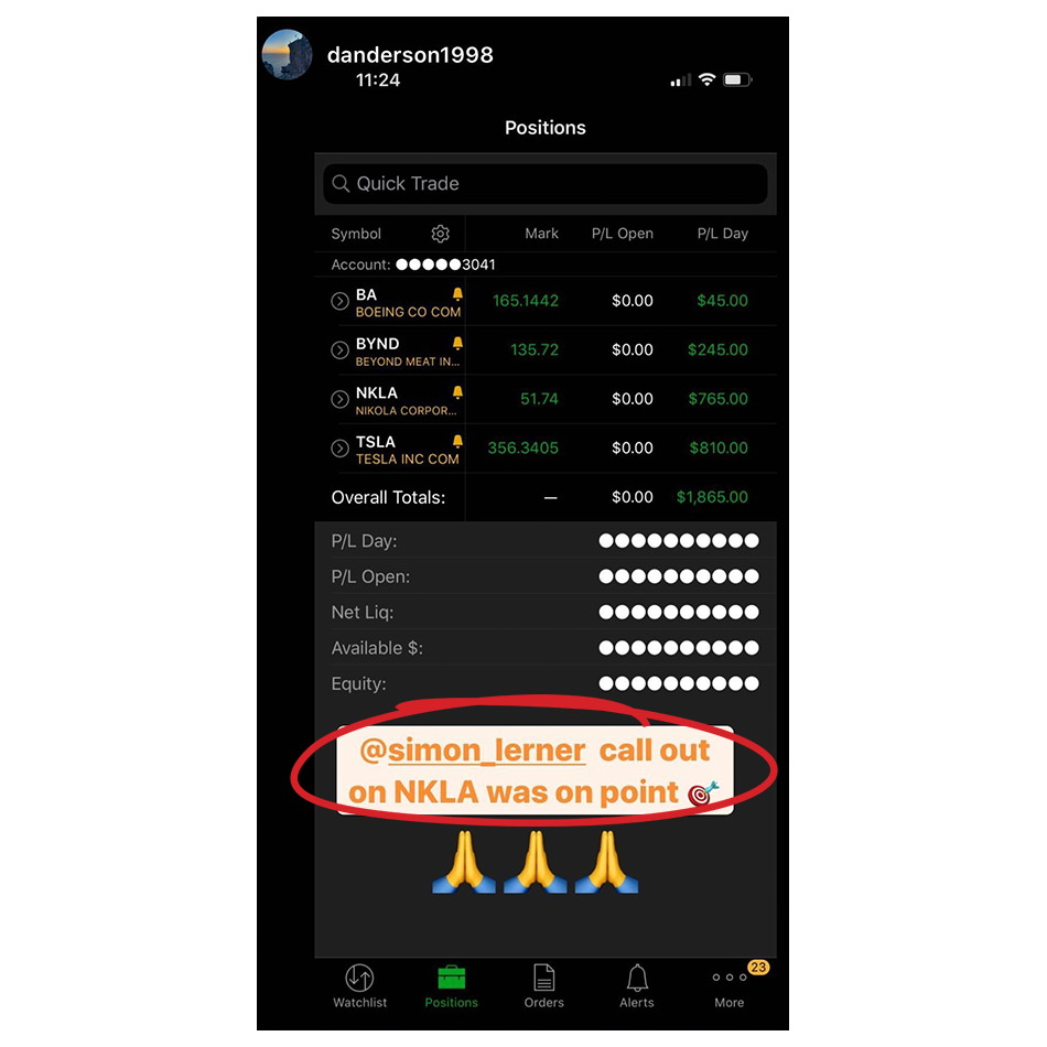 trading success story screenshot