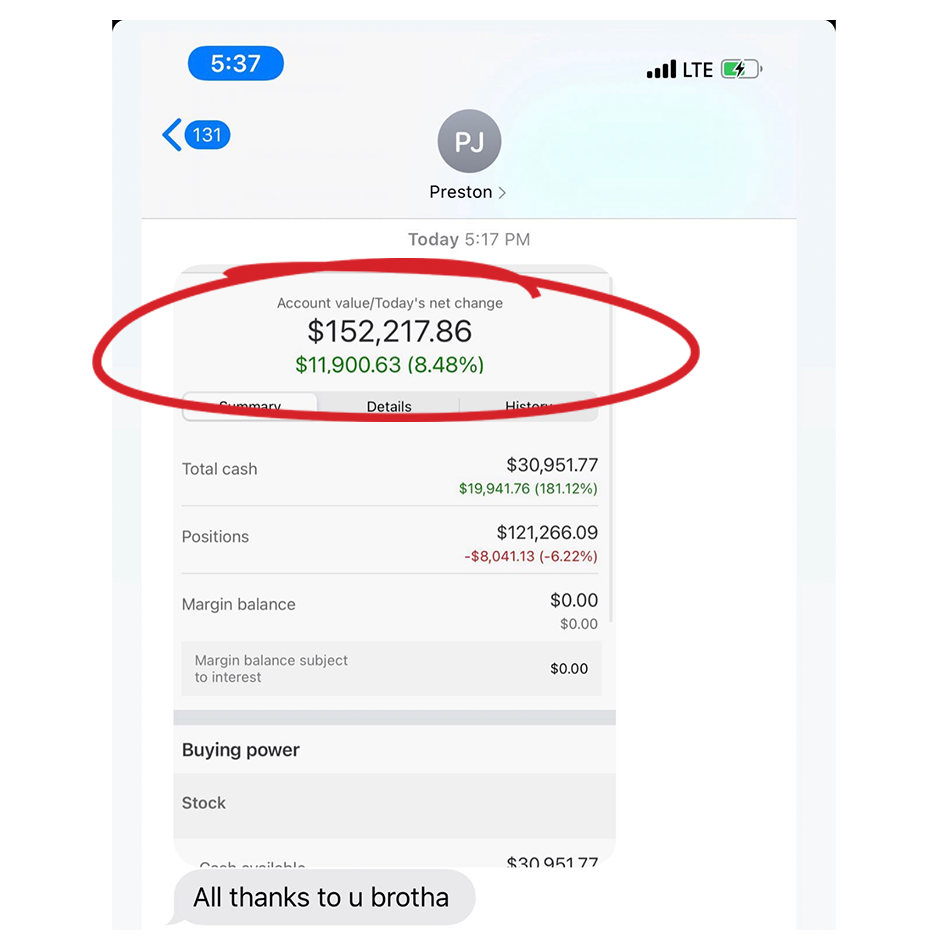 a text chat about stock trading success story screenshot