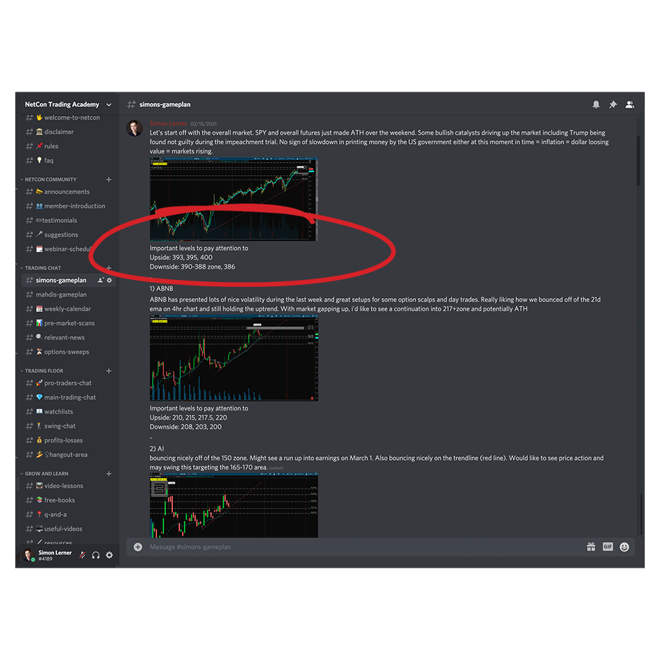 NetCon trading chat in a Slack chatroom about stock markets rising
