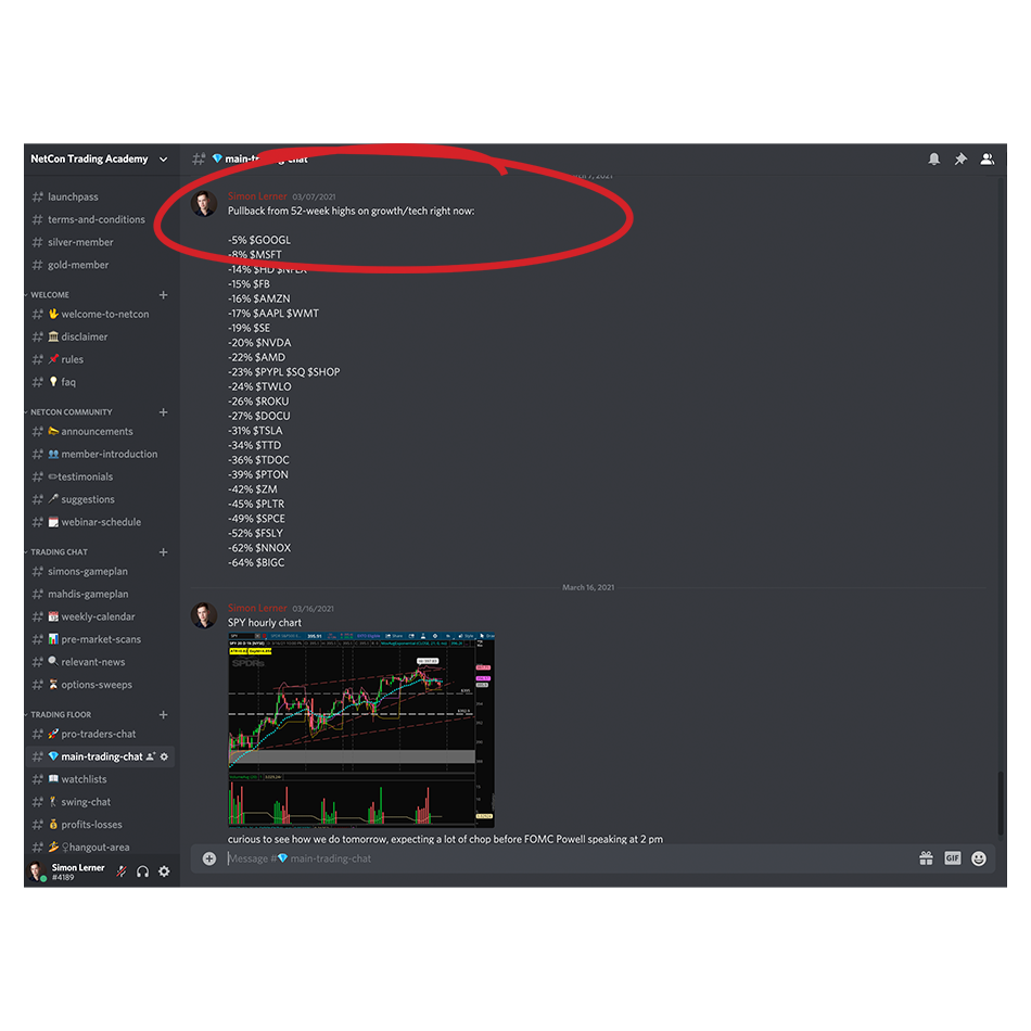 NetCon main trading chat feed in a Slack chatroom