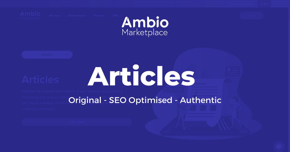 Ambio Marketplace Article Writing Service