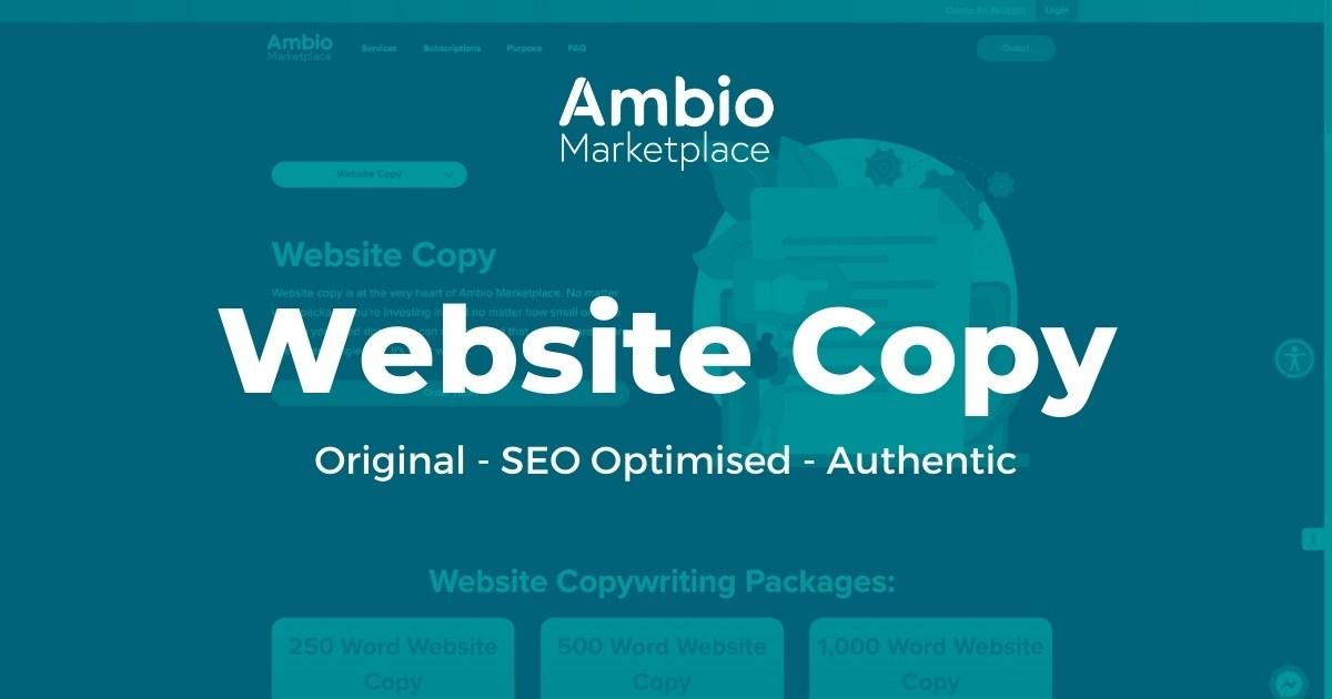 Ambio Marketplace Website Copywriting Service