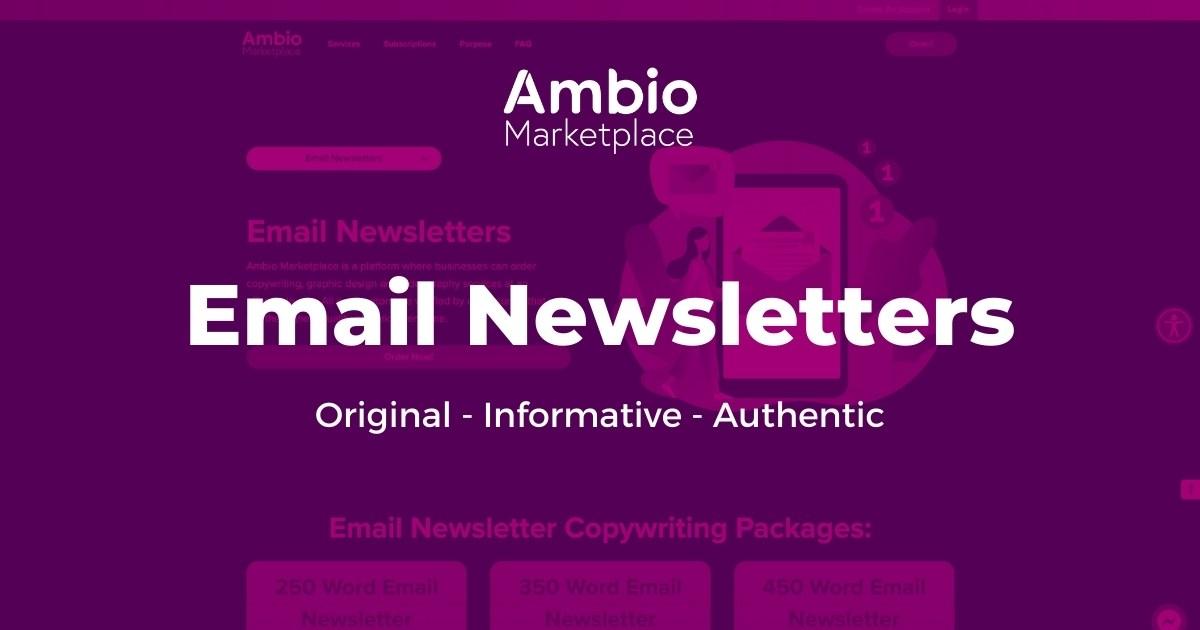Ambio Marketplace Email Newsletter Copywriting Service