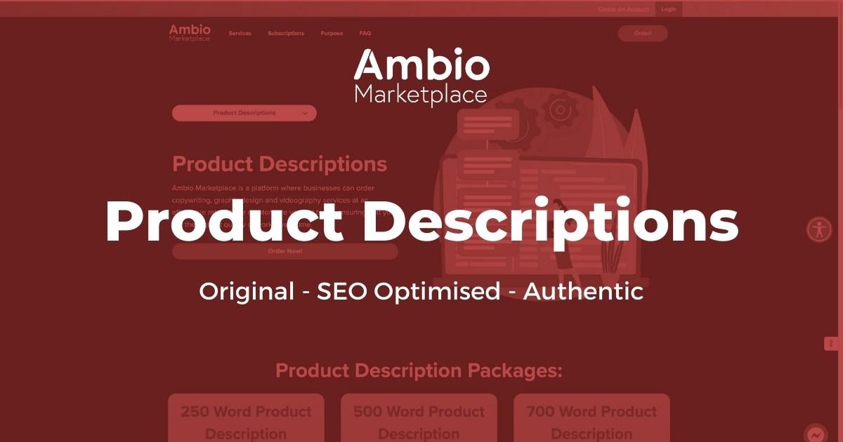 Ambio Marketplace Product Description Writing Service