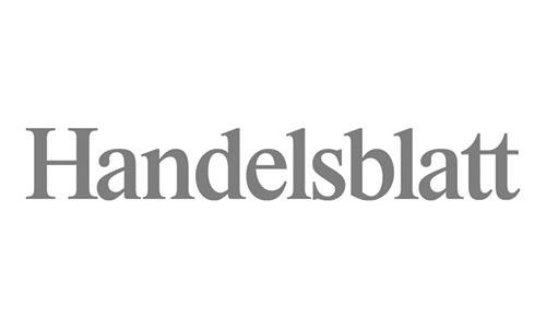 """Logo des Magazins """"Handelsblatt"""", in welchem 1A Signature features hat."""