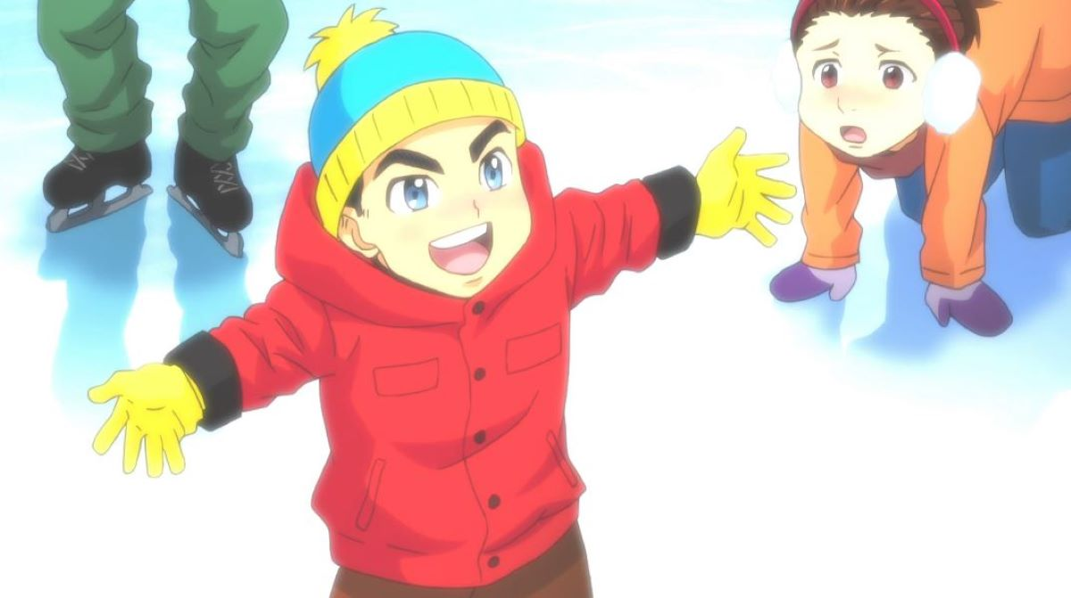 A young JJ skating and looking suspiciously like Eric Cartman from South Park | Yuri!!! on ICE and South Park? | Anime Easter Eggs!