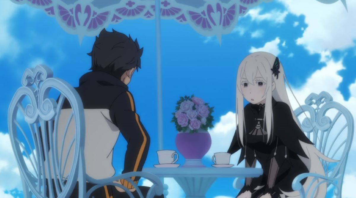 Echidna sat with Subaru under a blue sky | Echidna - Re:Zero -Starting Life in Another World- | A Selection of Spring Waifus