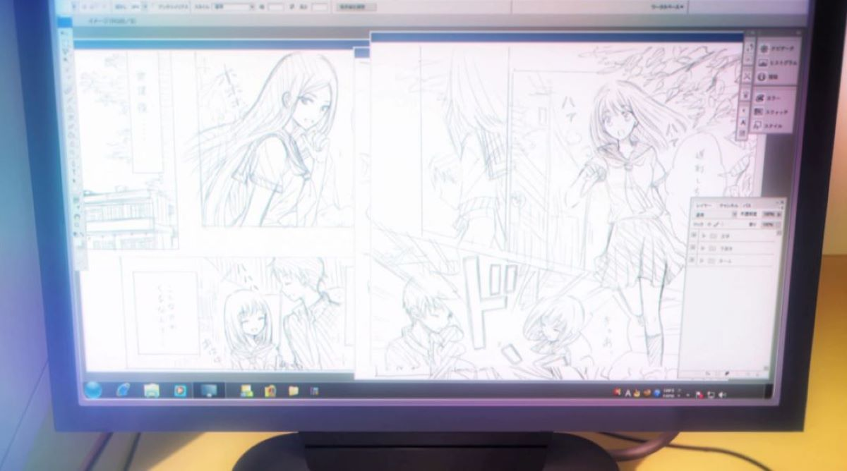 Shiina's manga on her computer | Camera Angles | What Makes Manga Different?