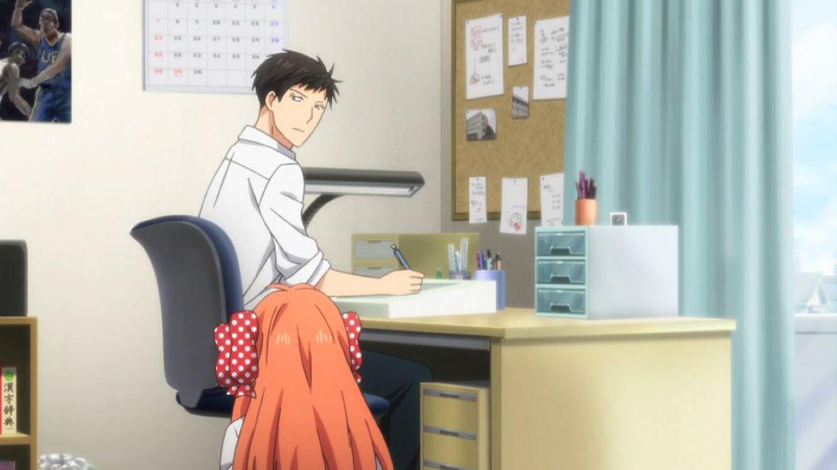 Nozaki drawing at his desk, Sakura sat on the floor | Monthly Girls' Nozaki-kun | Anime About Making Manga?