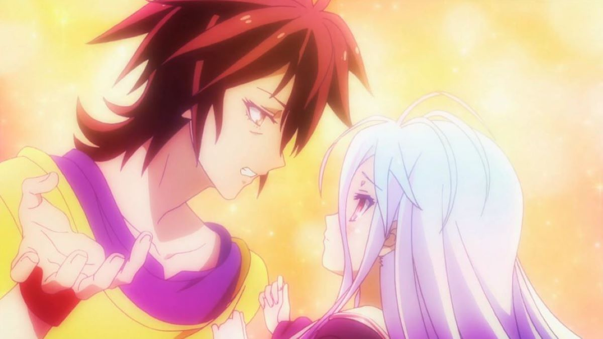 Sora and Shiro looking at each other intently | No Game No Life - Sora and Shiro | Stepsibling Relationships in Anime