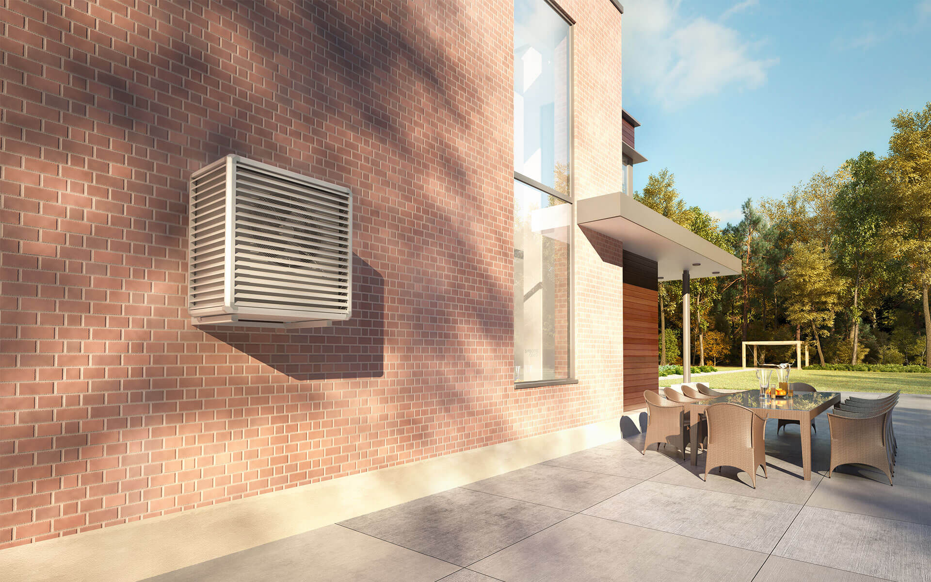 Vizualizácia tepelného čerpadla - vonkajšia jednotka vzduch - voda