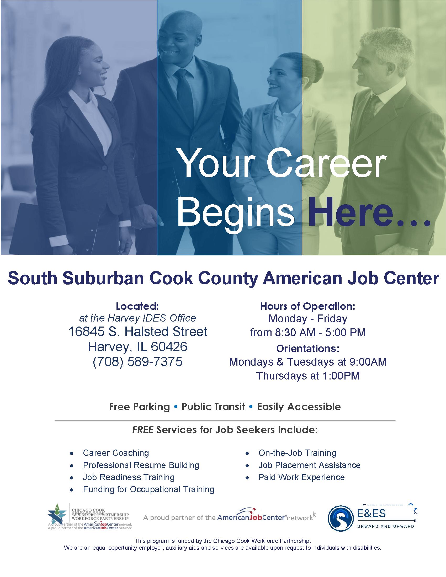 Custom American Job Center flyer at South Suburban
