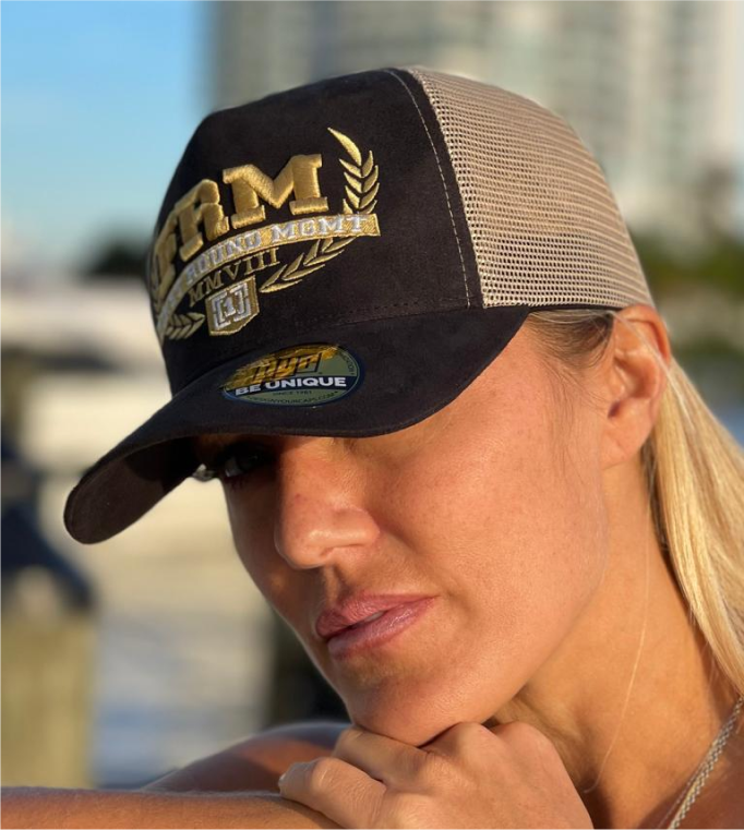 FRM Gold Embroidered Black Suede Trucker Hat