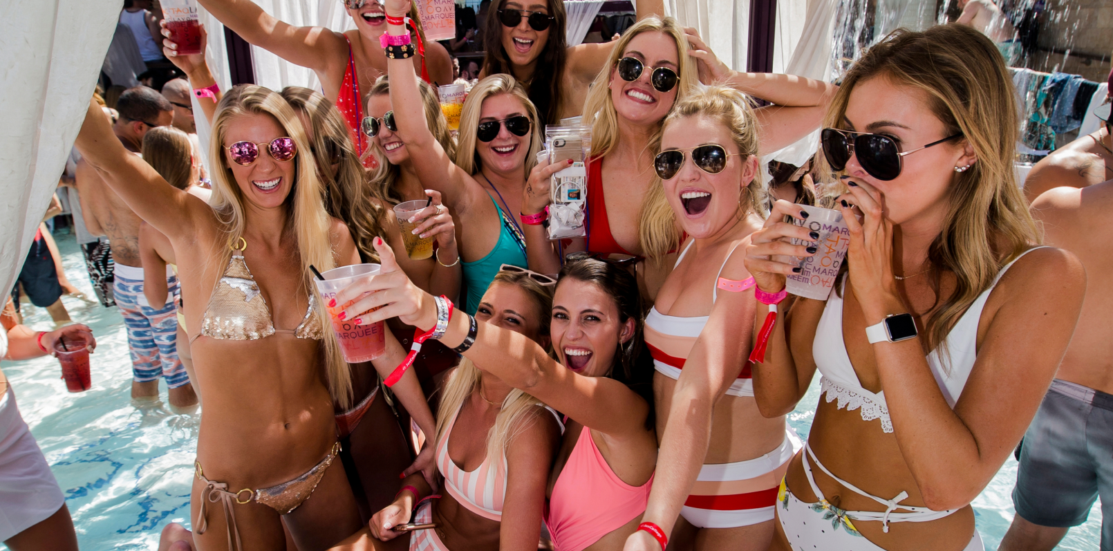 ladies at a pool party