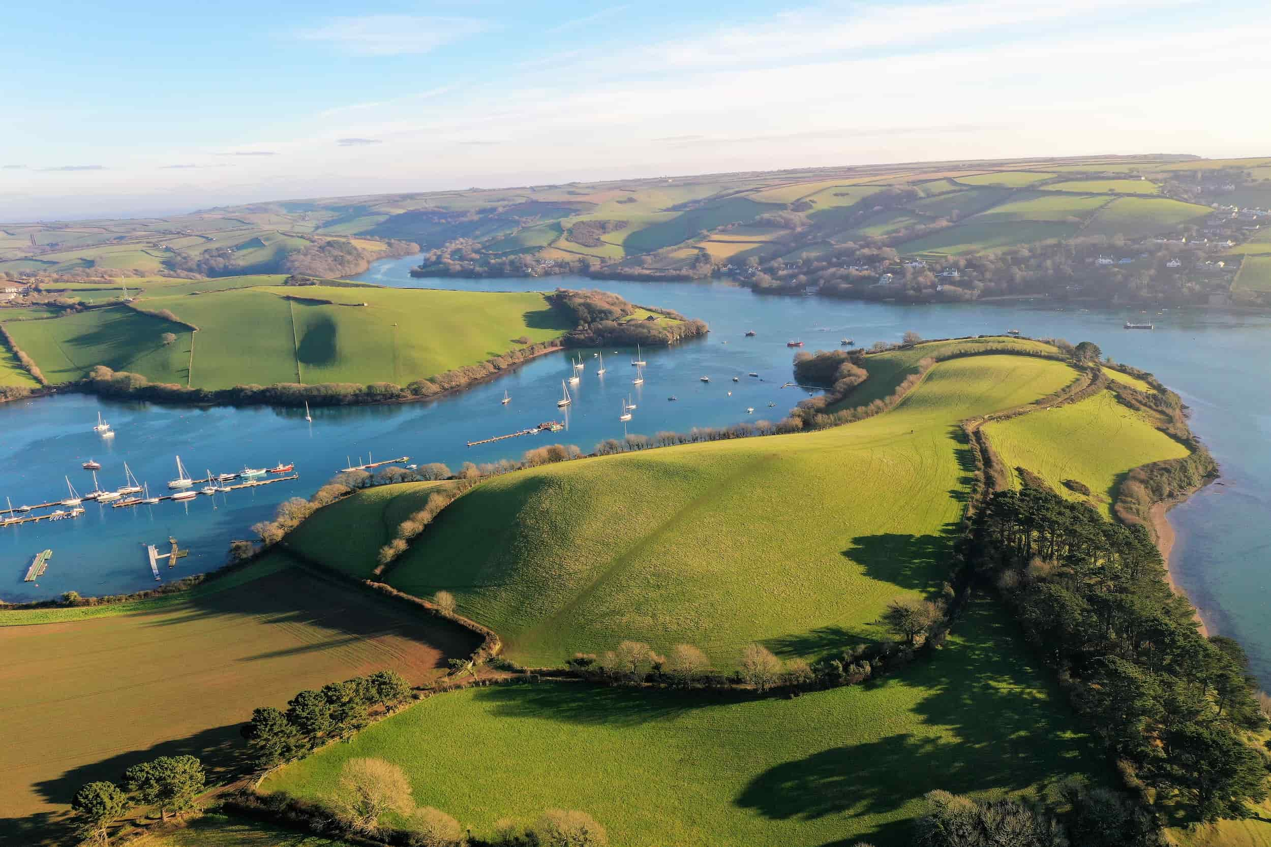 salcombe estuary from the air with boats