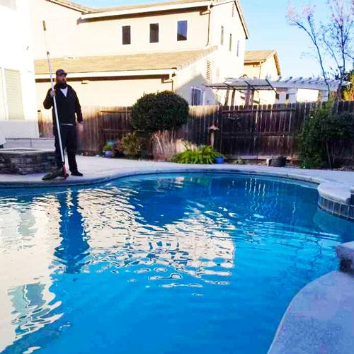 A freshly cleaned pool in Merced, CA.