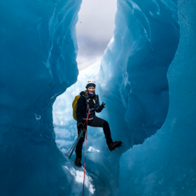 Great ice tunnel in Juklavass glacier, colors are amazing even on a grey and rainy day:)