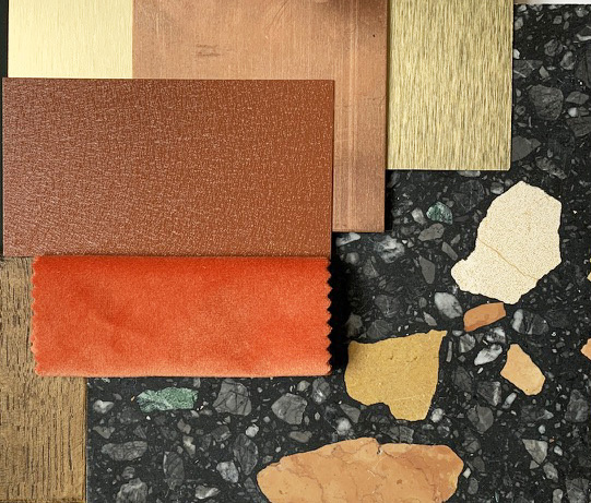 Materials used to create a texture and color mood board for projects