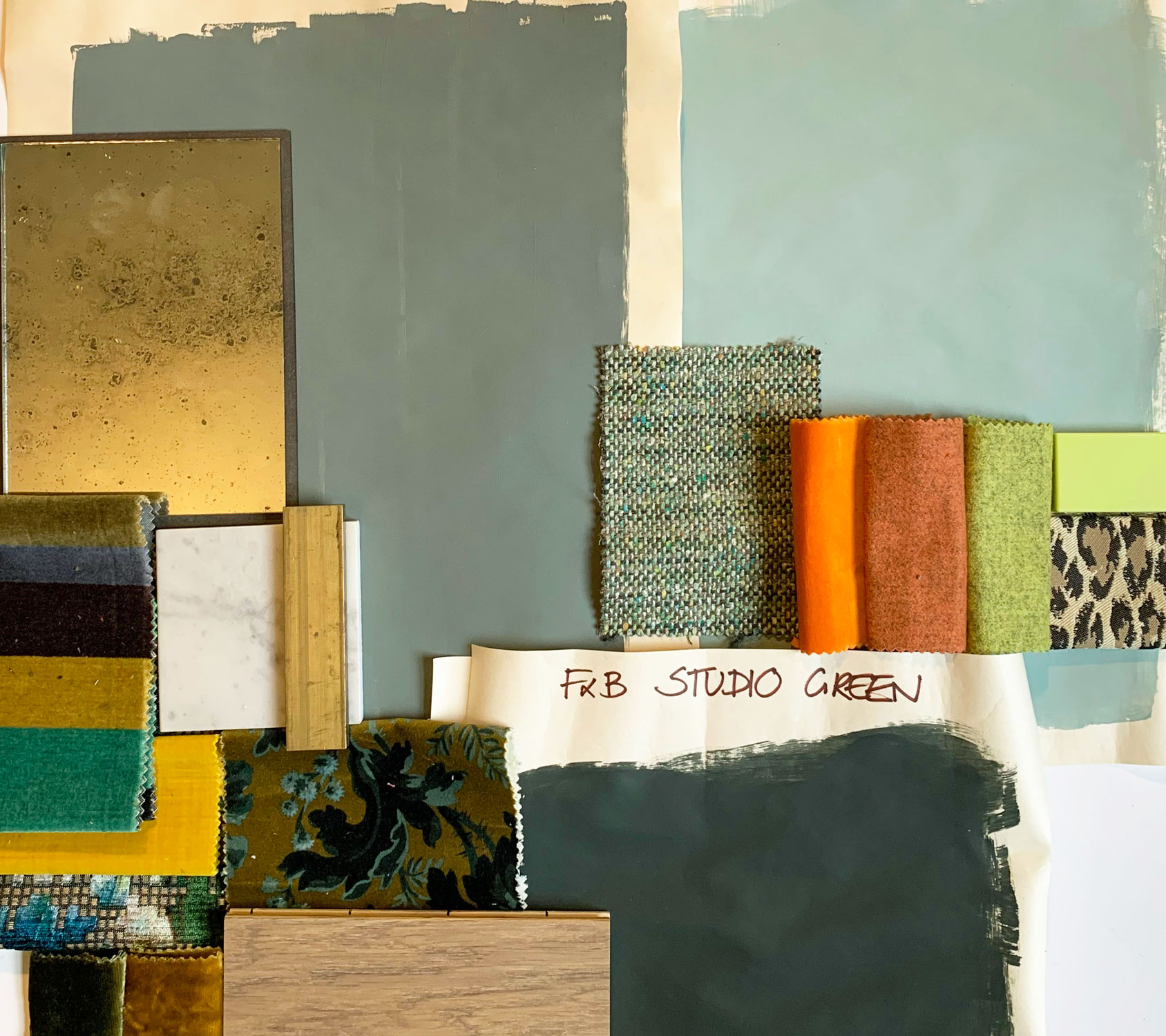 Materials used to create a moodboard for projects