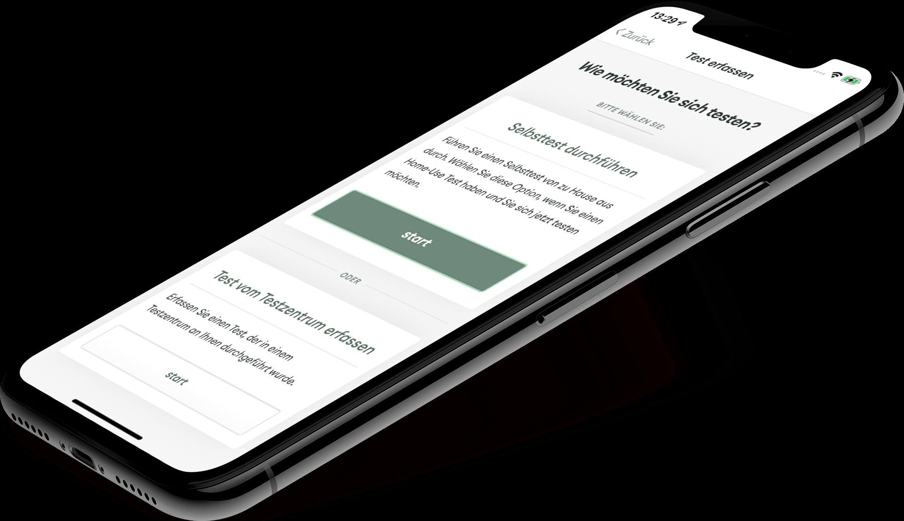 Abbildung der MedCare App, zu sehen ist der Erfassungsvorgang. In drei einfachen Schritten wird der Test erfasst. Scannen Sie zuerst den QR-Code auf der Testkassette und führen Sie danach den Test durch. Nach 15 Min uten können Sie das Test Ergebnis erfassen und verwenden.