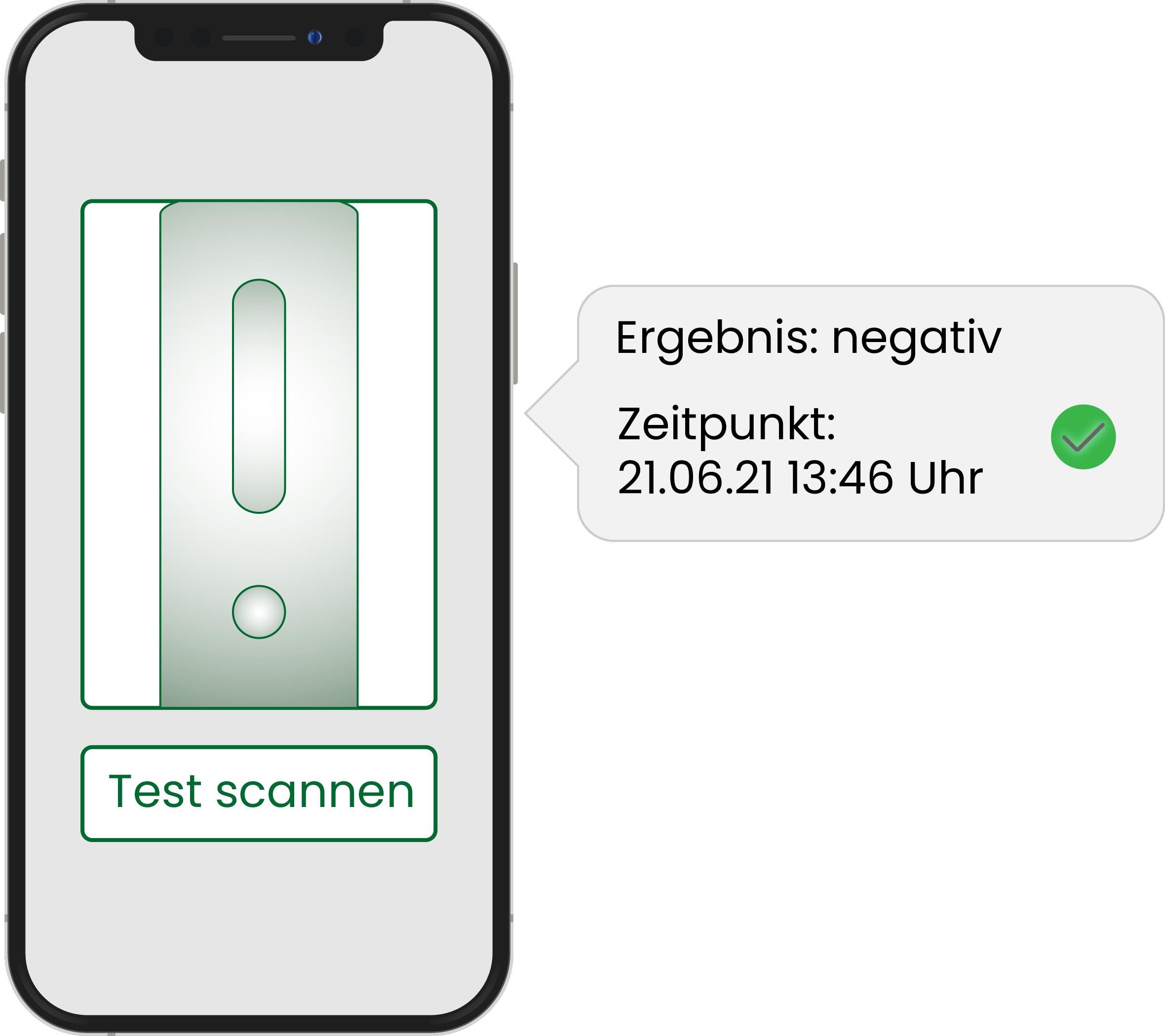 Scannen Sie die Testkassette, damit die App Ihr Ergebnis erkennen kann.