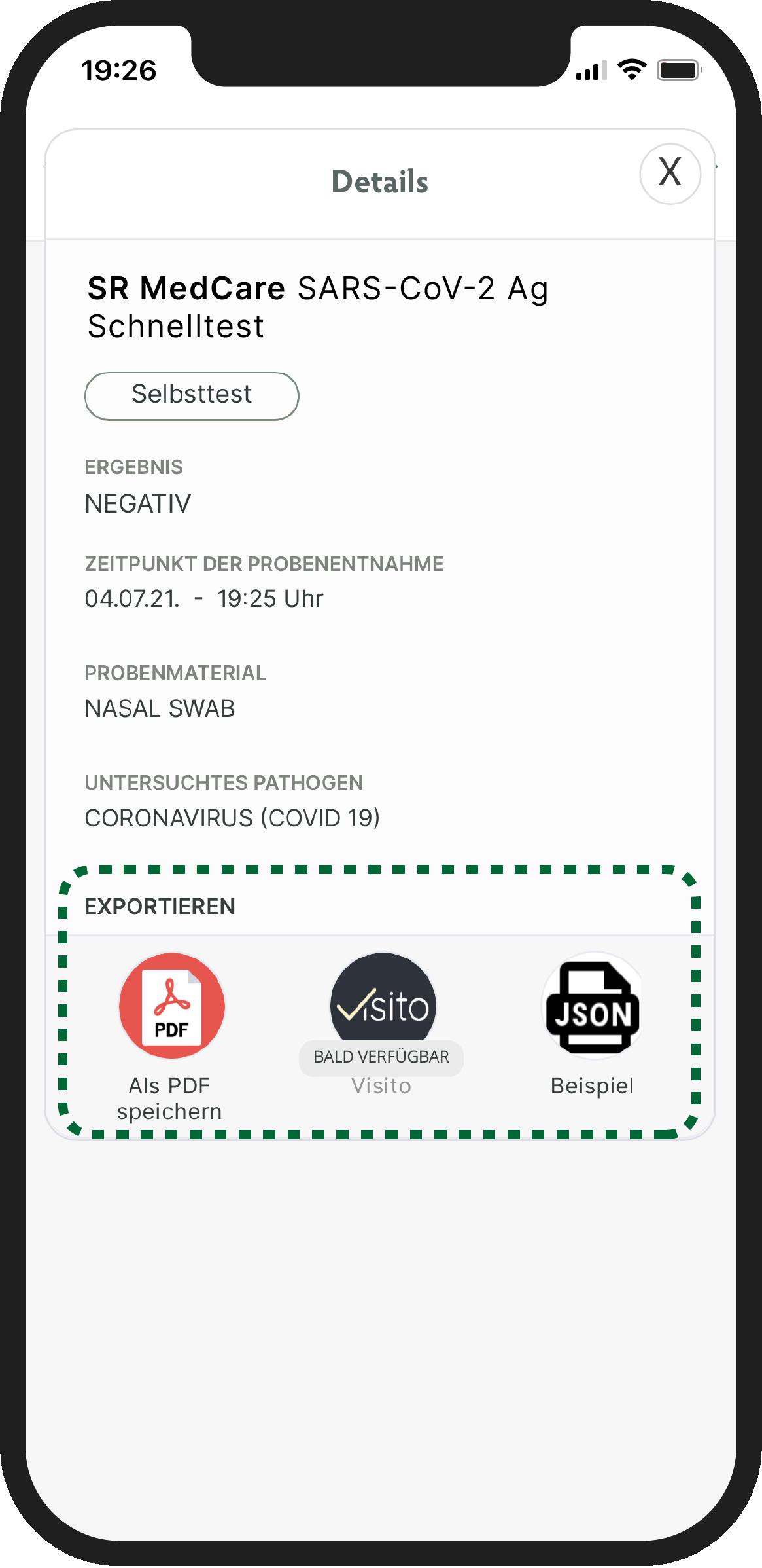 Wählen Sie ein App-Icon, um Ihr Ergebnis in eine andere App zu übertragen.