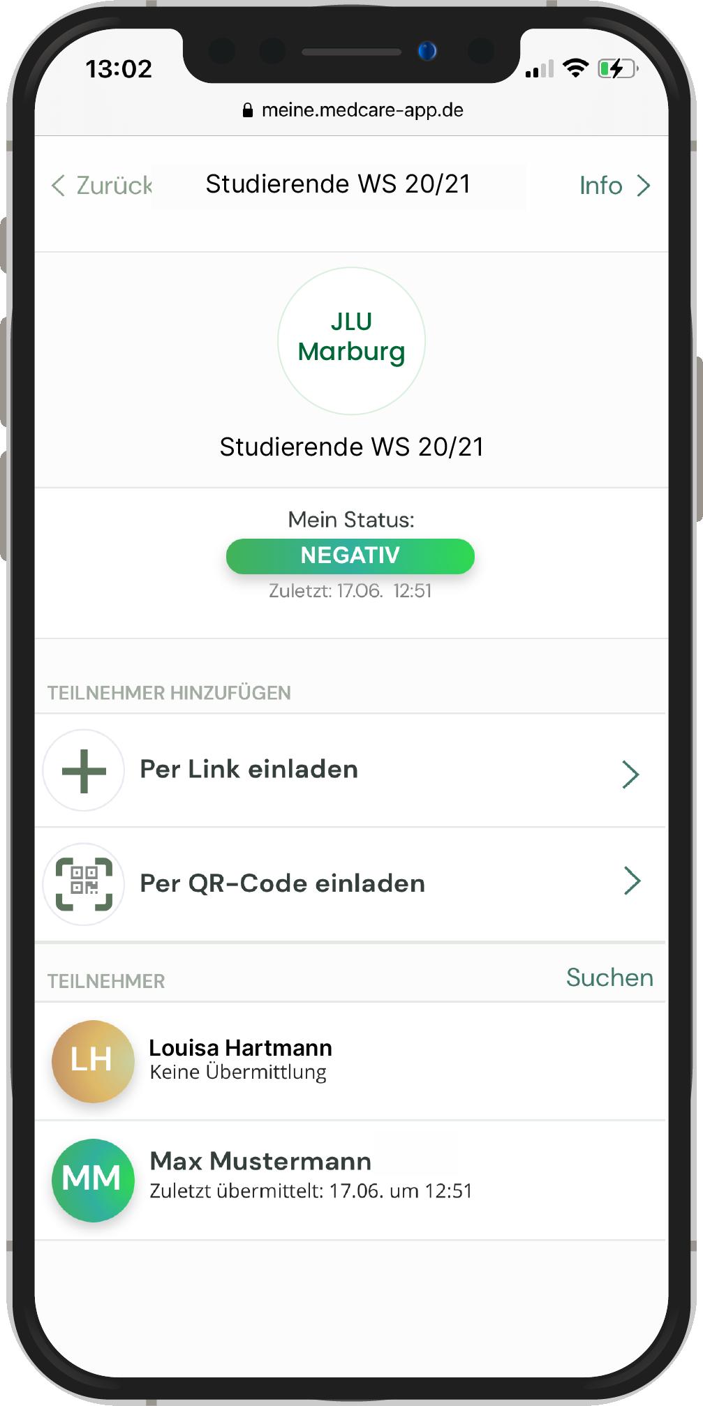 Sie können neue Mitglieder in Ihre Gruppe einladen, indem Sie den Link zu Ihrer Gruppe teilen, oder indem die Person den Gruppen QR-Code scannt.