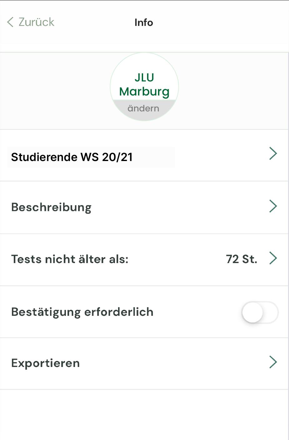Gruppenansicht, alle Einstellungsmöglichkeiten einer MedCare Gruppe zum Austausch von Test Ergebnissen innerhalb der MedCare App