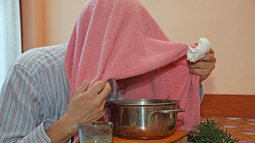 Steam remedy for sinus problems