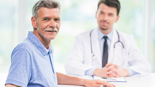 ENT physician and patient