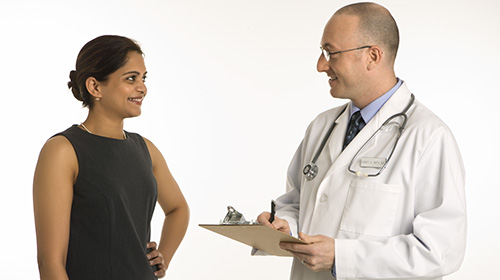Allergy specialist and patient