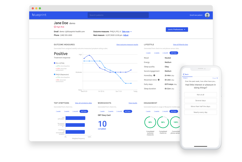 Blueprint clinical portal and client iOS application