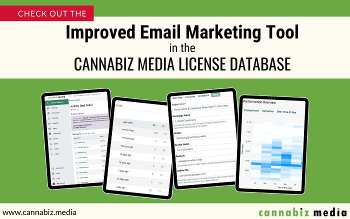 Check out the Improved Email Marketing Tool in the Cannabiz Media License Database
