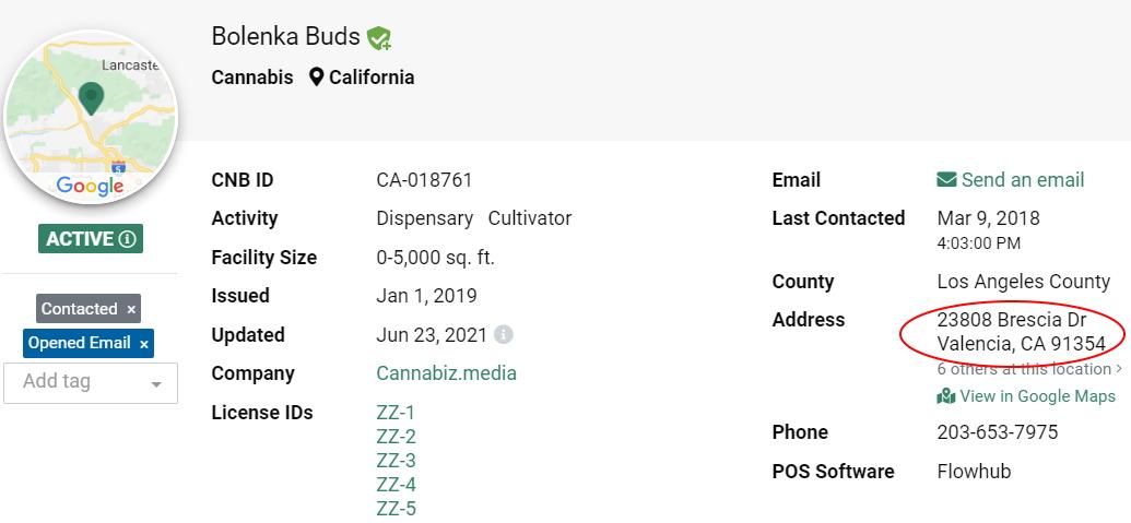 Cannabiz Media License Database License Address