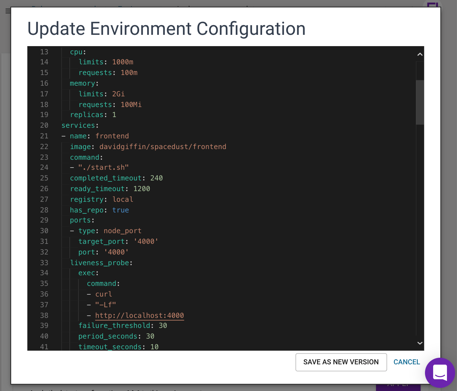 Experiment with environment configuration