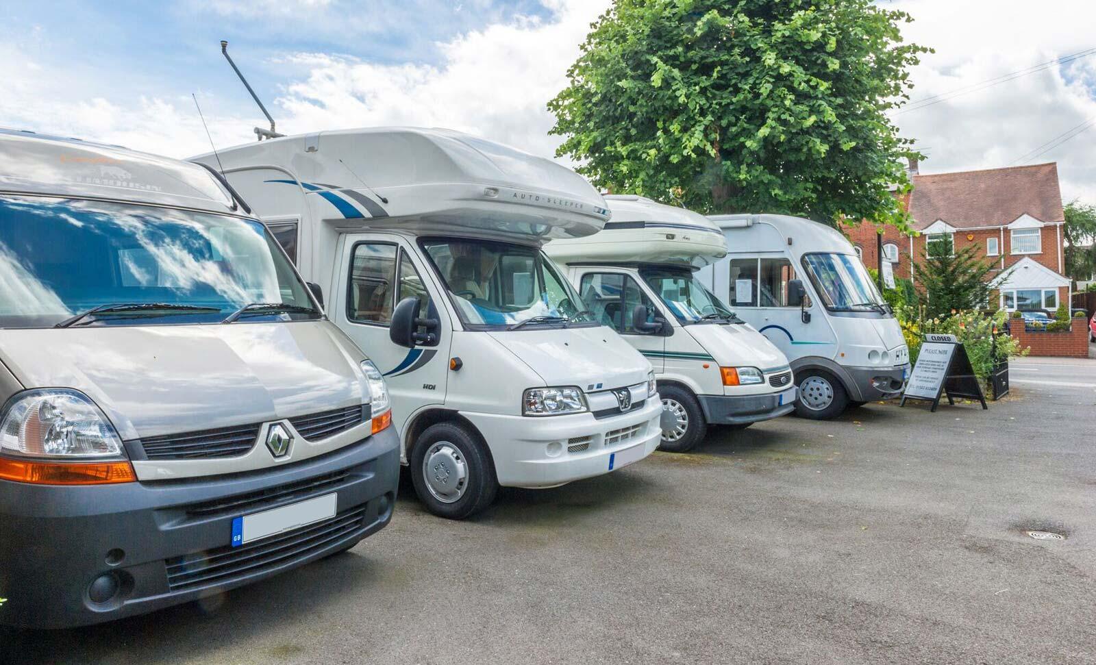 Motorhome Sales forecourt in Studley Warwickshire