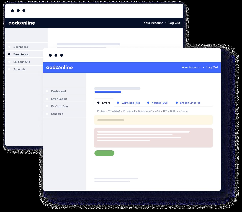 App screenshot mockups depicting AODA Online software