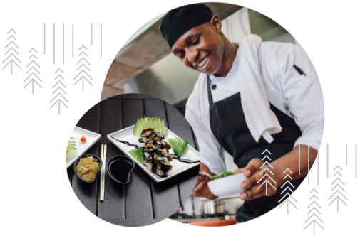 Two circular images, one of a chef working and another of a plated Japanese inspired meal with chopsticks and Shoyu in a small dish to the left of the plate.