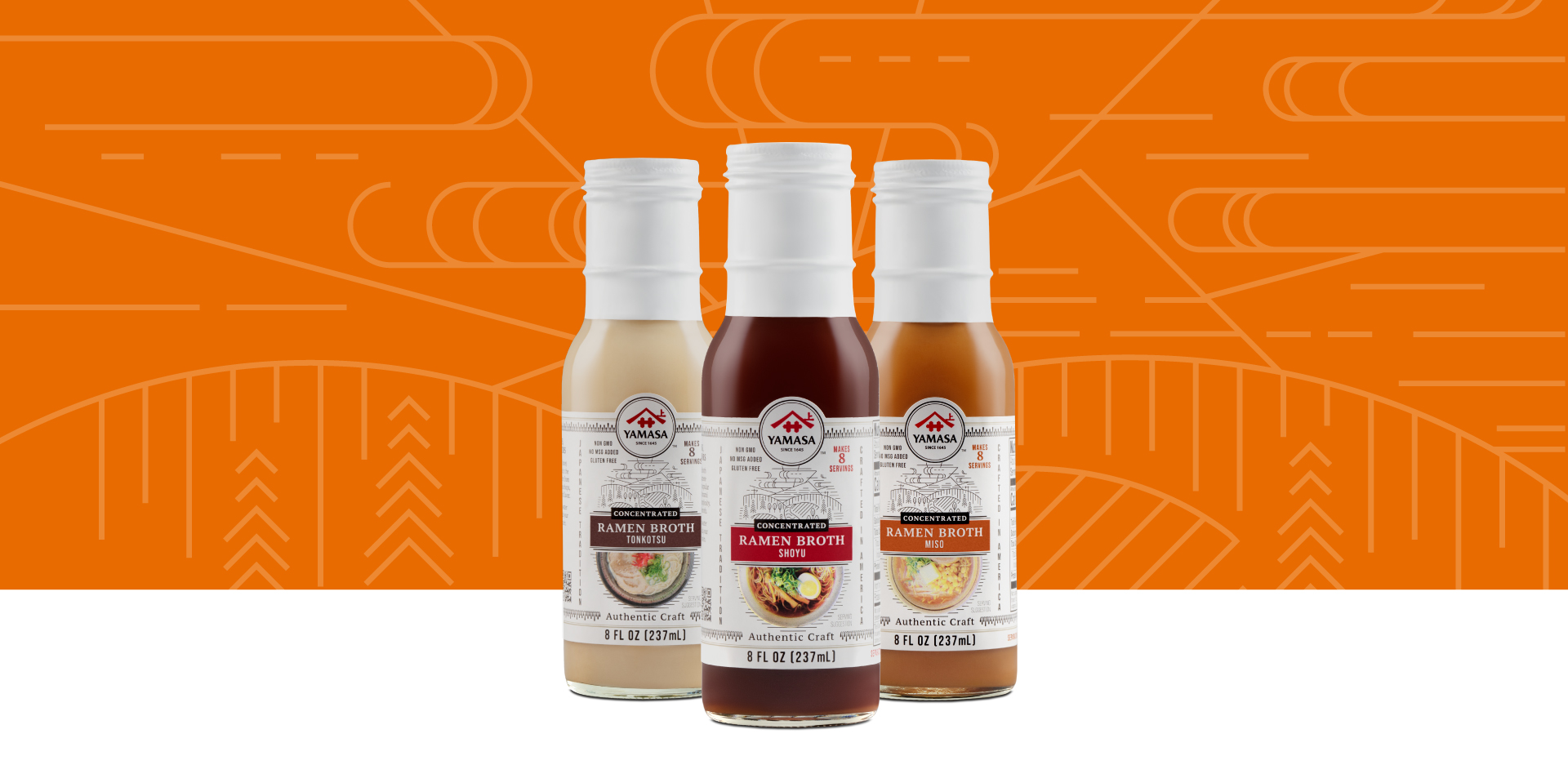Product image of the Yamasa Ramen Broth Series including Ramen Broth Tonkotsu, Ramen Broth Shoyu and Ramen Broth Miso set against an illustrative background.