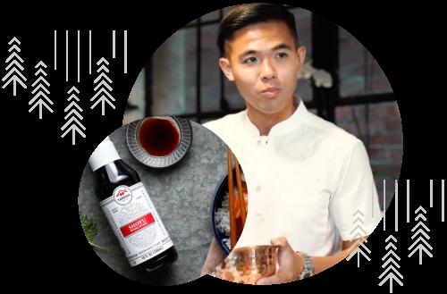 Chef with Yamasa shoyu product image overlaid in circular shape