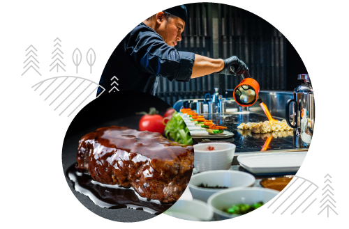 Two circular images with a Chef preparing food in one and a beef dish in the other. Both are overlaid with Yamasa brand decorative elements.