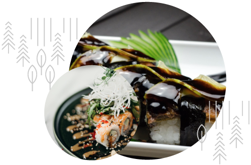 Two circular images with sushi covered in soy sauce in one and a noodle dish in the other. Both are overlaid with Yamasa brand decorative elements.