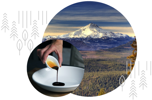 A montage of snow capped mountains and a hand pouring soy sauce