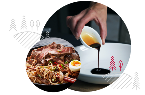 Two circular images with shoyu being poured in one and a noodle dish in the other. Both are overlaid with Yamasa brand decorative elements.